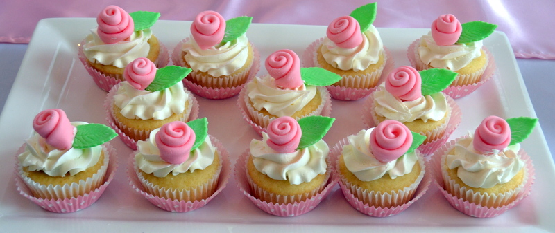 Pink Rose Cupcakes For Girls Birthday